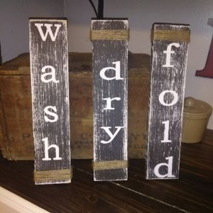 3 Wooden Farmhouse LAUNDRY ROOM Signs!